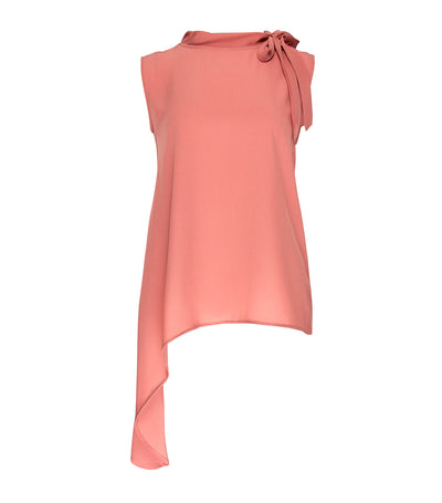 Harriet Sleeveless Blouse with Ribbon Tie Peach