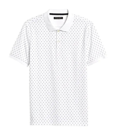 Luxury Touch Print Polo Optic White