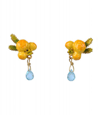 les néréides mimosa flower and leaves stud earrings