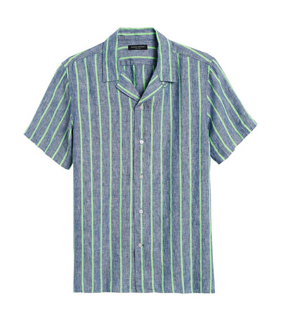 Slim-Fit Linen Resort Shirt Bold Blue Stripe