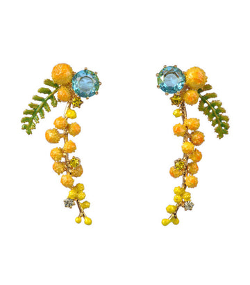 les néréides mimosa branch and fern stud earrings
