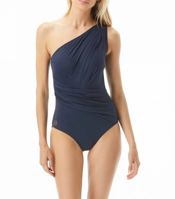 One Shoulder Shirred One Piece Swimsuit Navy Blue