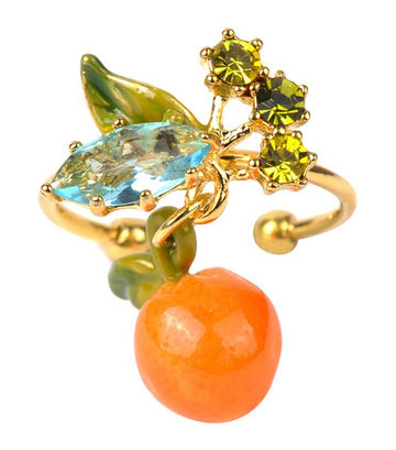 Orange And Leaves Adjustable Ring