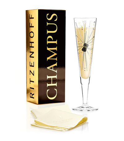 ritzenhoff champagne glass with napkin by claudia schultes