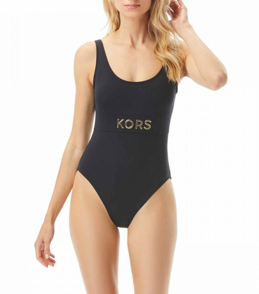 Studded Logo Scoop Back One Piece Swimsuit Black