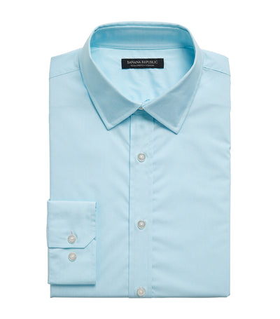 Slim Fit Tech Stretch Cotton Shirt Seafoam Green