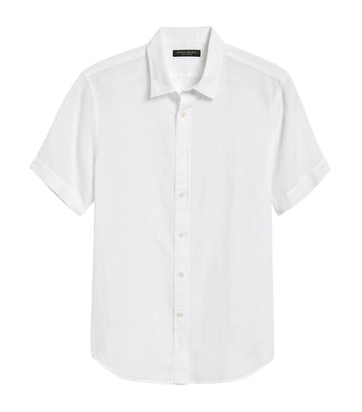 Slim-Fit Linen Cotton Shirt White