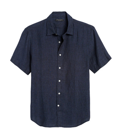 Slim-Fit Linen Shirt Navy