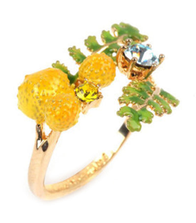 les néréides fern and mimosa flower adjustable ring