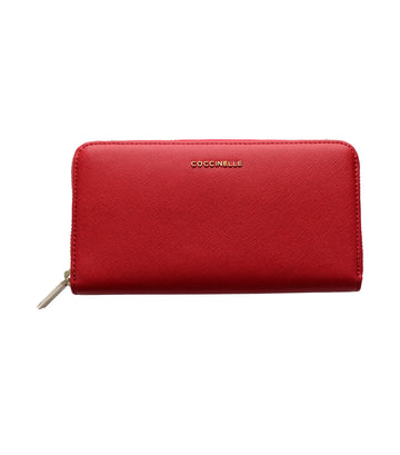 coccinelle metallic saffiano long wallet red