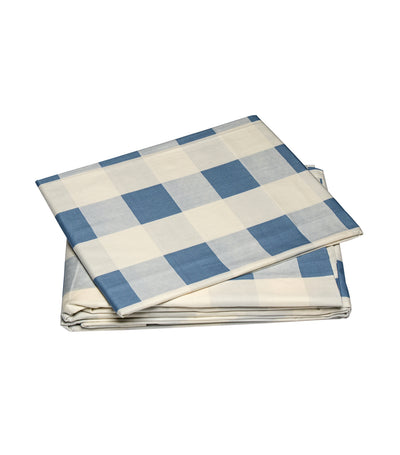 rustans home blue checkered sheet set queen with 300 thread count