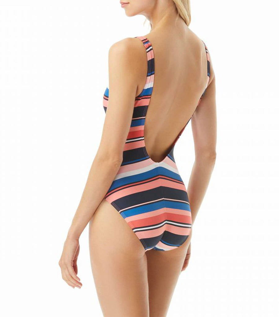 Bright Stripe Over The Shoulder One Piece Swimsuit Persimmon