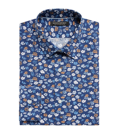 Slim Fit Non-Iron Dress Shirt Daisy Floral