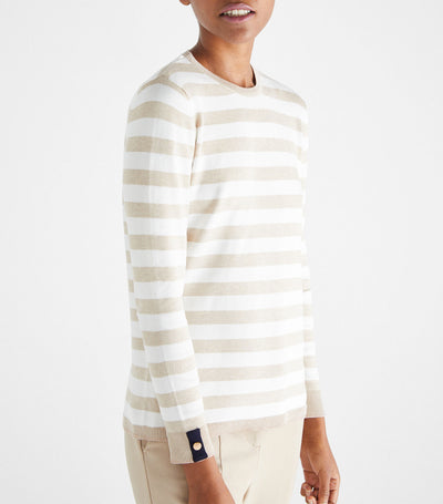 Lurex Striped Sweater Beige Camel