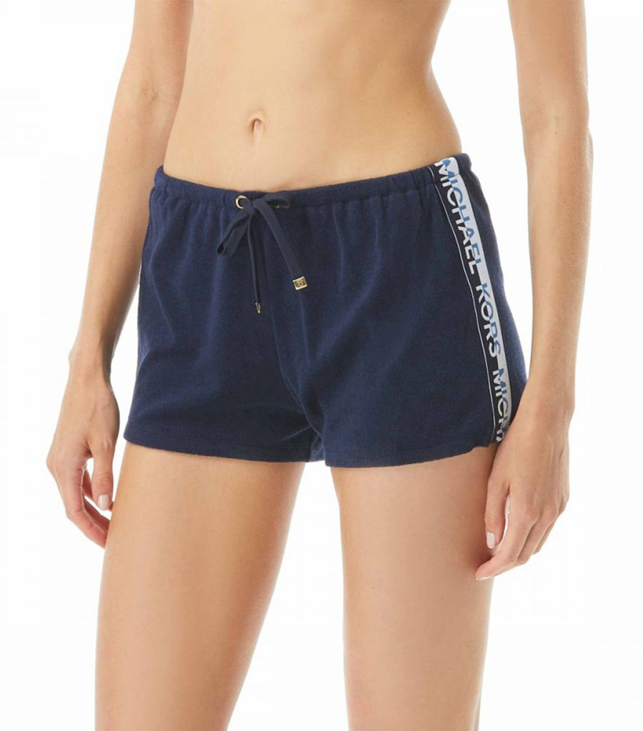 Sporty Logo Terry Cover Up Shorts New Navy