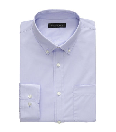 Slim Fit Tech-Stretch Cotton Shirt Basic Blue