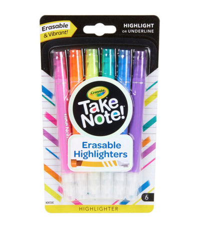 crayola take note erasable highlighters - 6 count