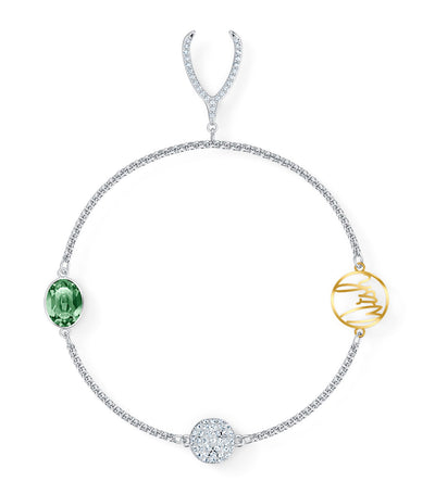 Remix Collection Wishbone Strand, Green, Rhodium Plated
