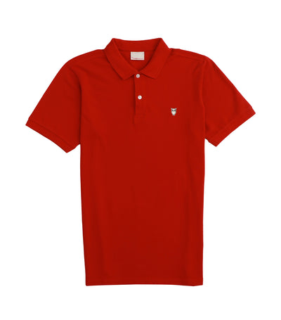 knowledge cotton apparel rowan basic pique polo red