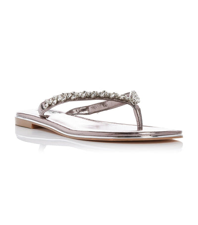 Newbey Diamante Toe Post Sandal Pewter