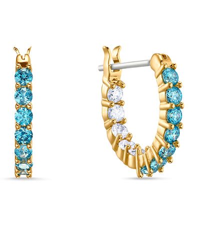 Vittore Hoop Pierced Earrings, Aqua, Gold-Tone Plated