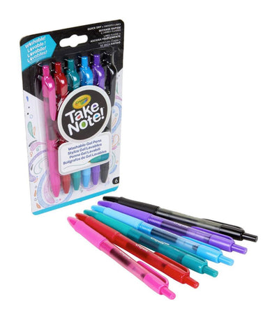crayola take note washable gel oens - 6 count