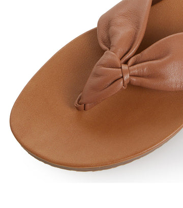 Lyrik Tan Leather Ruched Toe Post Sandal Tan