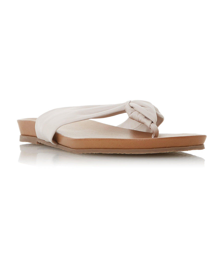 Lyrik Tan Leather Ruched Toe Post Sandal Ivory