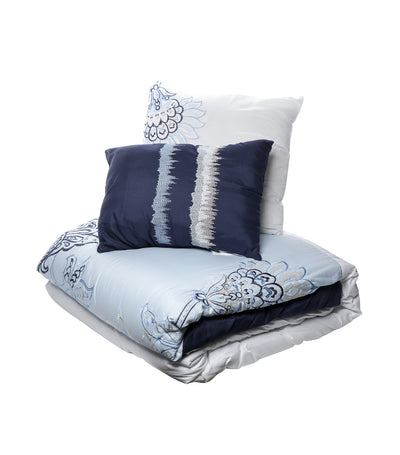 home & main blue bell 6-piece embroidered comforter set