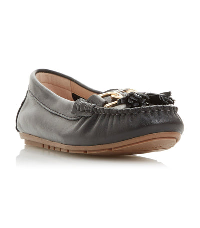 Geena Tassel Detail Moccasin Loafer Black