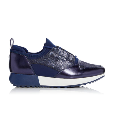 Eppic Contrast Panel Lace Up Trainer Navy