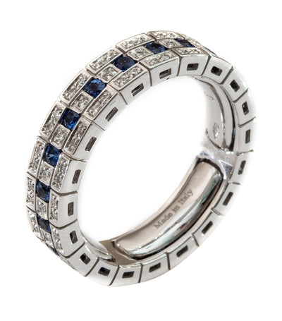 Damiani Belle Epoque Sapphire and Diamond Ring 18k White Gold