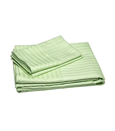 rustans home green sheet set with stripes - twin