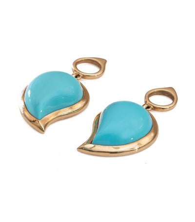 Tamara Comolli Turquoise Singledrop Large Earrings Charm 18k Rose Gold