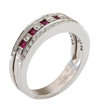 Damiani Belle Epoque Ruby and Diamonds Ring 18k White Gold