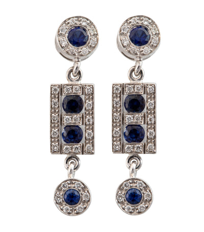 Belle Epoque Sapphire and Diamonds Drop Earrings 18k White Gold