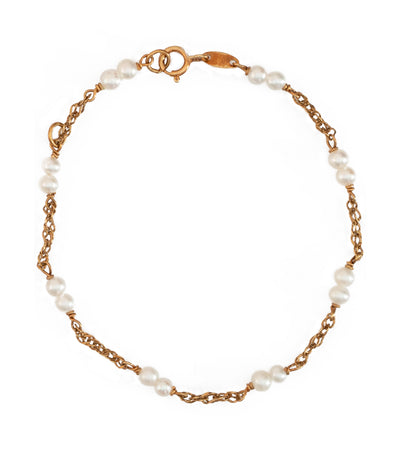 Aguilar de Dios Pearl and Chain Baby Bracelet 18k Yellow Gold
