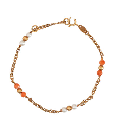 Coral and Gold Beads Baby Bracelet 18k Yellow Gold