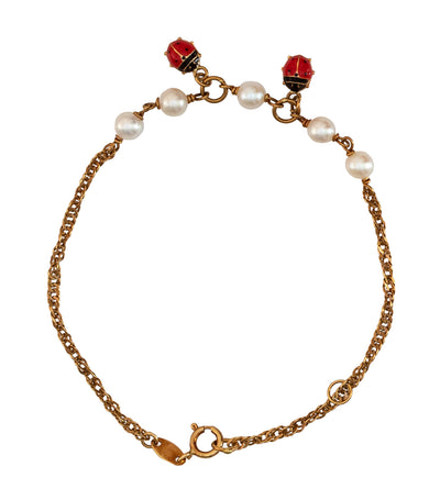 Aguilar de Dios Ladybug Enamel with Pearls Baby Bracelet 18k Yellow Gold