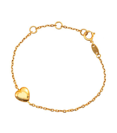 Aguilar de Dios Heart and Chain Baby Bracelet 18k Yellow Gold