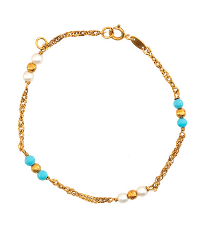 Turquoise and Gold Beads Baby Bracelet 18k Yellow Gold