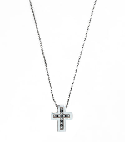 Belle Epoque Cross Necklace 18k White Gold with Diamonds and  Black Sapphire