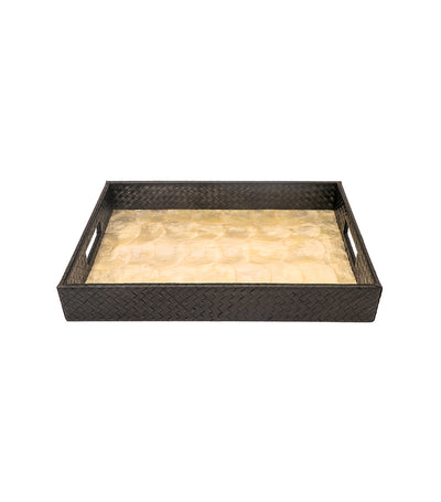 Rustan's Filipiniana Our Very Own Rectangle Natural Black Banig Capiz Tray