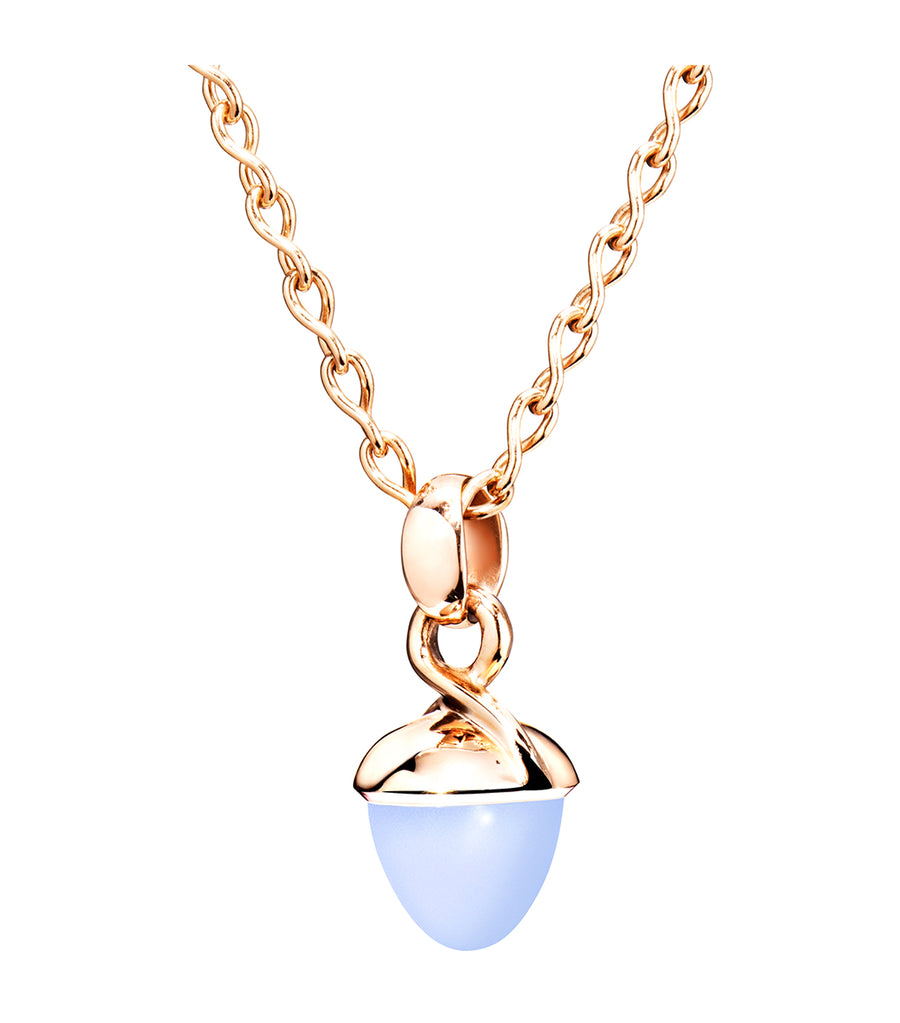 Mikado Bouquet Blue Chalcedony Pendant 18K Rose Gold