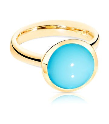 Bouton Ring Large Turquoise in 18K Yellow Gold