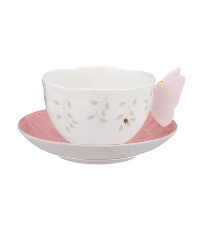 Butterfly Meadow Figural Cup and Saucer - Pink