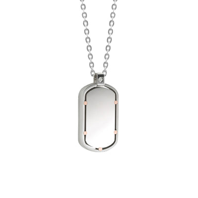 D.Side Steel and Pink Gold Necklace with Diamond