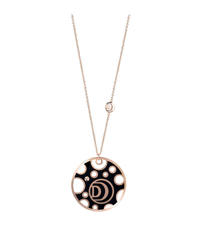 Damianissima Pink Gold Double-Face Necklace with Diamond and Black and White Ceramic