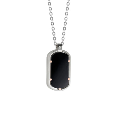 D.Side Steel and Pink Gold Necklace with Onyx and Diamond