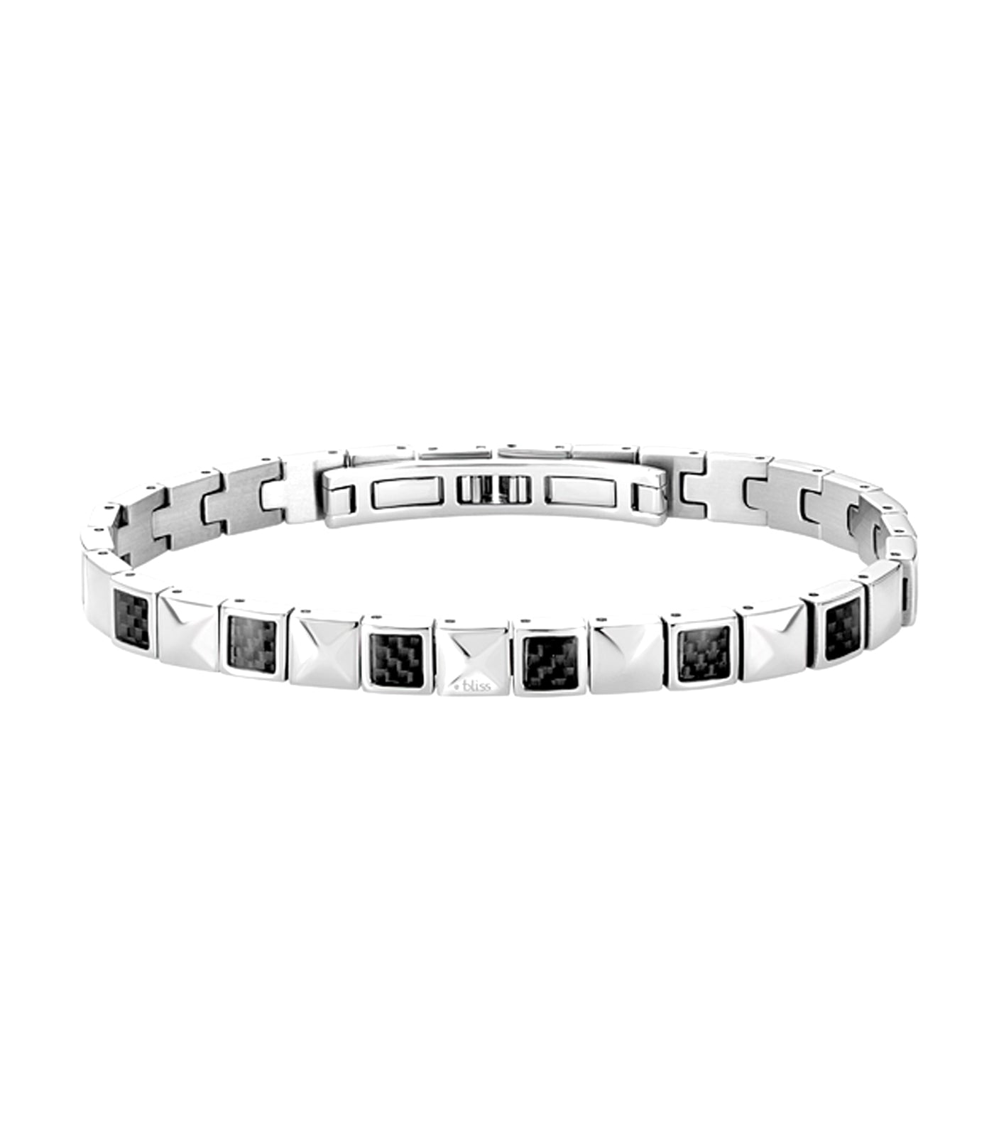 Blaze Stainless Steel Carbon Fiber Bracelet with Diamonds